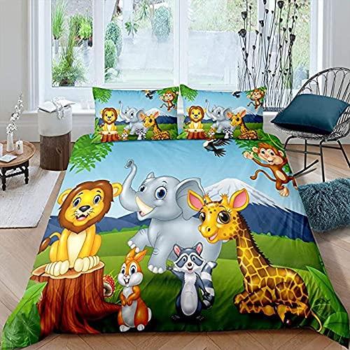 3 piezas de edredón de dibujos animados para niños, juego de cama de monte Fuji, para niños, elefante, jirafa, león, conejo, mono, pájaro, colcha, zoológico, vida silvestre, dormitorio, decora