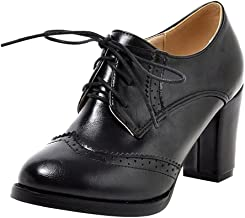 Dear Time Block Heels Wingtip Oxfords Vintage PU Leather Brogue Shoes Woman
