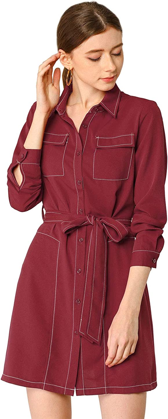 High material Allegra K Women's Contrast Stitch Long Button Sleeves Up In a popularity Belted
