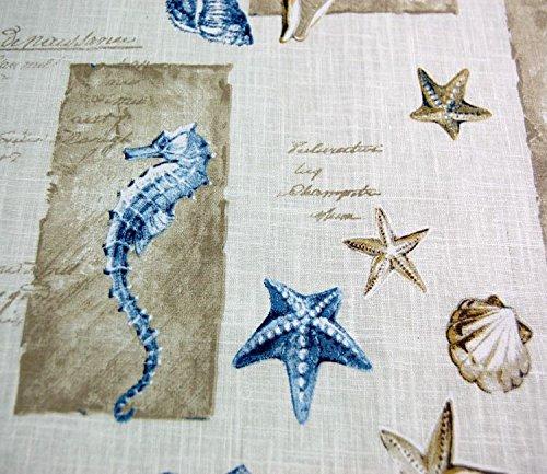 abwaschbare Tischdecke 130x190 cm eckig Baumwolle Acryl beschichtet Muscheln Maritim Baumwolldecke Beige Blau Garten J. Schleiß/Deutschland (130x190 cm rechteckig)