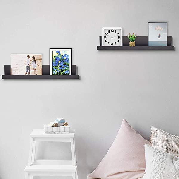 Coismo Espresso 小型浮动壁架壁挂式搁板一套 2 个装饰功能家庭办公室和更多