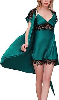 83b72bb0d0cb7 Dolamen Chemises de Nuit Femmes Satin avec Kimono Robe, 2-in-1 Femmes