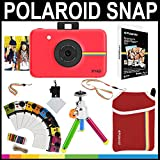 Polaroid Snap Instant Camera (Red) + 2x3 Zink Paper (20 Pack) + Neoprene Pouch + Photo Frames + Accessory Bundle
