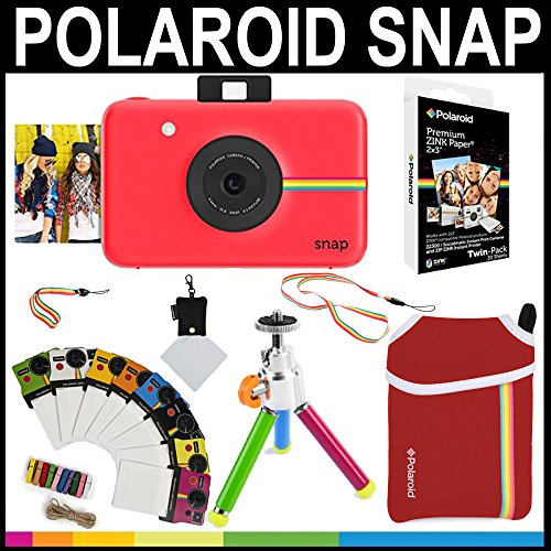 Polaroid Snap Appareil Photo instantané (Bleu) + Papier Zink 2 x 3 (Pack de 20) + Pochette en néoprène + Cadres de Photos + Ensemble d'accessoires