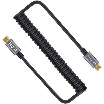 Micro USB変換ケーブル,CableCreation Micro USB to Micro USB コイルケーブル (0.17m〜1.2m) スプリングライン Micro USB OTGケーブル(金メッキピン及びアルミシェル) Androidスマートフォン/タブレット/DJIリモートなど対応 ブラック