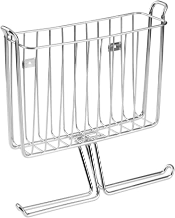 InterDesign Classico Wall Mount Newspaper and Magazine Holder Rack - Bathroom Organizer - Silver