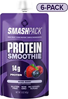 SmashPack Mixed Berry Protein Fruit Smoothie Pouch 6 Pack | 14g Whey Protein with MCT Oil | Paleo Friendly, No Added Sugar, Gluten Free, Soy Free, Non-GMO | 100% BPA Free | 5 oz Squeeze Pouches