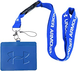 Under Armour Blue Faux Leather Business ID Badge Card Holder with (Blue with White) Keychain Lanyard