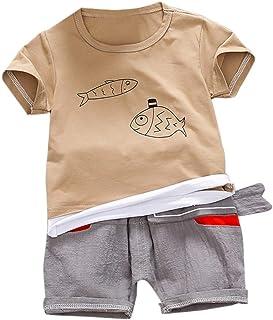 1d77219bb6861 Baywell Vêtements Costume Short Enfant Bébé Garcon 0-3Ans 4Ans été,  Ensemble T Shirt