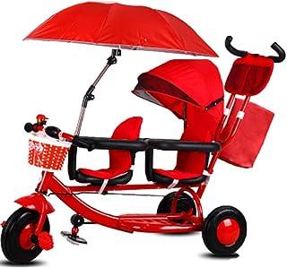 YUMEIGE triciclos Triciclo para niños Peso de la Carga 100 Kg 1-6 años Cumpleaños Regalo para niños Cochecitos de niños Trike Asiento Doble (niño/niña) Disponible (Color : Rojo)