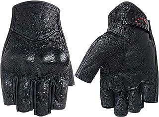 Half Finger/Fingerless Motorcycle Gloves Genuine Goatskin...