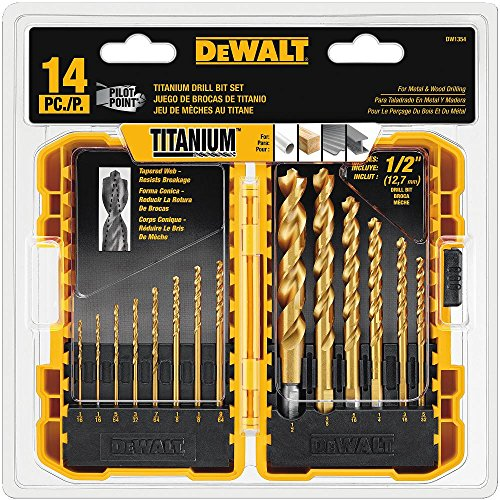 DEWALT Drill Bit Set, Titanium, 14-Piece (DW1354),Yellow