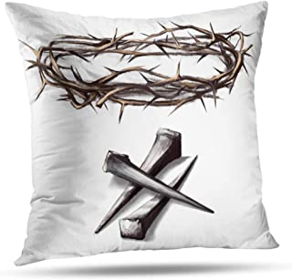 Soopat Christmas Decorative Pillow Covers,Crown Thorns Way Cross Nails Jesus Jesus Watercolor Abstract, 18 x 18 inch Home Decoration Zippered Pillowcase(Holidays)