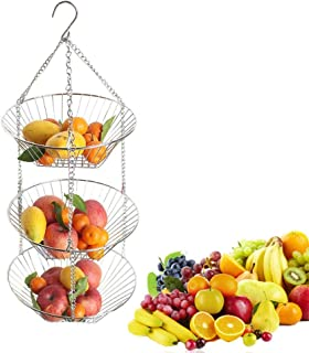 HOMDUS 3-Tier Wire Hanging Fruit Basket, Fashing and Durable Fruit Vegetable Food Kitchen Storage Basket, Heavy Duty Up to 5KG