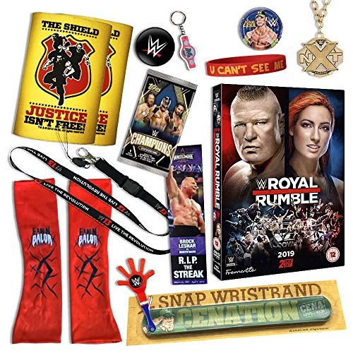 WWE Kids Gift Set - Includes Over 15 items [Snap band, Royal Rumble 2019 DVD, Finn Balor Sleeves, Topps Cards, Collectables and more] …