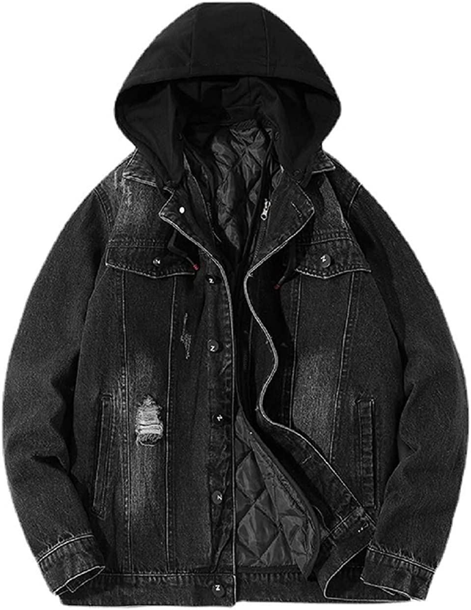 Chartou Men's Removable Hooded Distressed Oversized Diamond Quilted Liner Denim Jacket Coat
