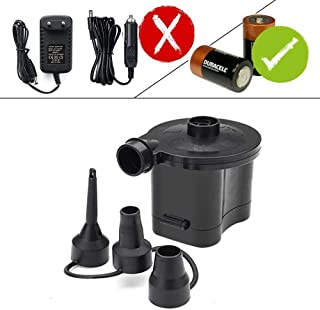 OBEST Electric Portable Quick-Fill Air Pump, Air Mattress Pump DC Inflator Deflator with 3 Nozzles for Outdoor Camping Inflatables Raft Bed Boat Pool Toy, Inflatable Cushions,Batteries Powered Black