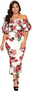 Vestidos Plus Size Women Elegantes Casual De Fiesta Tallas Grandes De Moda Casuales Largos Elegantes Floreados Rojos VE0075