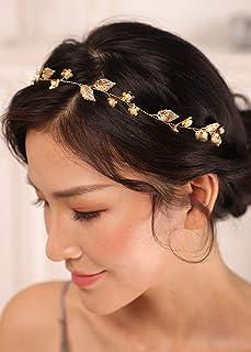 پیشانی بند برگ طلای Kercisbeauty برای عروسی زنان قطعه مو عروس Boho لوازم جانبی موهای نازک برای موارد خاص