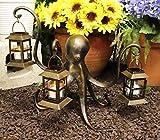 Ebros Gift Nautical Deep Ocean Giant Kraken Octopus Trio Candle Holder Lanterns Garden Statue Sea Innkeeper Home Decor Made of Aluminum Figurine