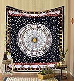 THE ART BOX Tapiz del zodíaco blanco y negro para colgar en la pared, tapiz hippie, tapiz de astrología india, tapiz psicodélico celta para colgar en la pared, tapiz rashi