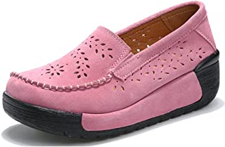 Z.SUO Women Platform Loafers Comfort Suede Moccasins Lace Up Low Top Wedge Driving Shoes