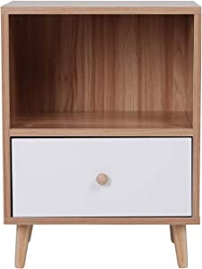Joolihome Wooden Bedside Table With Drawers Scandinavian Style Pine Bedside Cabinet Side Table End Table, Bedroom Furniture