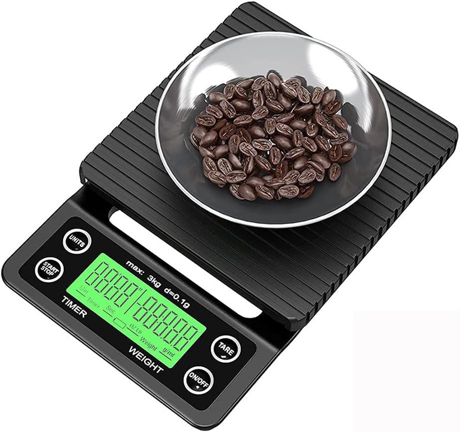 MHXQD Verter sobre la Balanza de Café BáScula de Espresso MultifuncióN de Alta PrecisióN con Temporizador BáScula de Cocina Digital para Cocinar Hornear Prensa Francesa