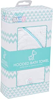 Décor Microfibre Infant Hooded Bath Towel, White/Teal