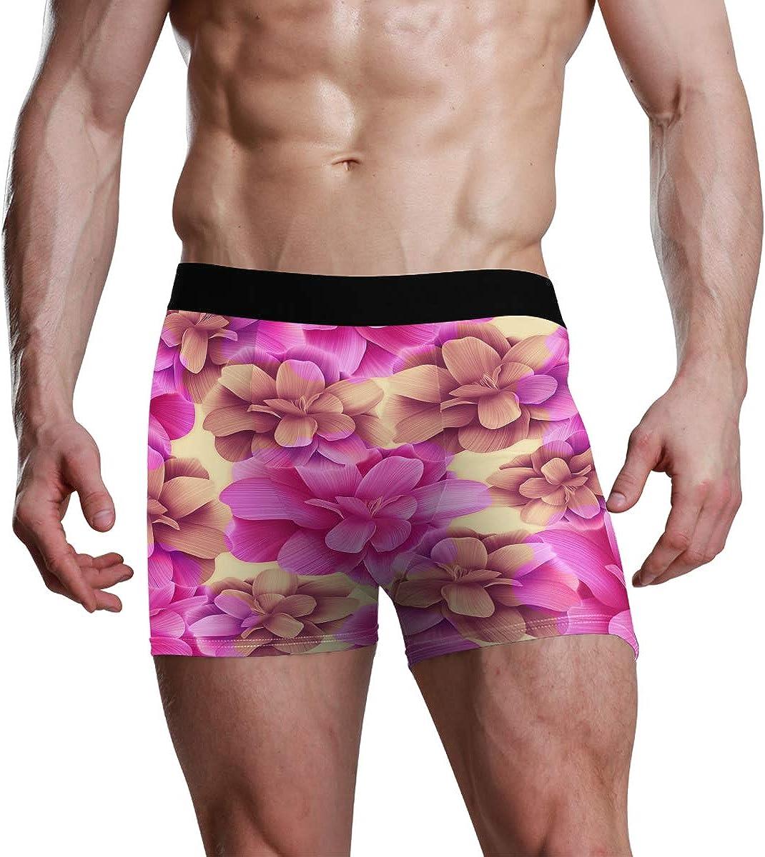 Mens Boxer Briefs Seamless Tropical Flower Plant and Leaf Pattern Backgroun Low Rise Trunks Underwear Breathable Bikini Boys