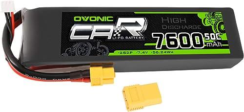 seguro de calidad OVONIC Batería 2S 7.4V 7600mAh 50C 50C 50C de Lipo del Coche RC con el Enchufe XT60  bajo precio del 40%