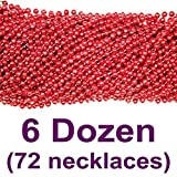 33 inch 07mm Round Metallic Red Mardi Gras Beads - 6 Dozen (72 Necklaces)