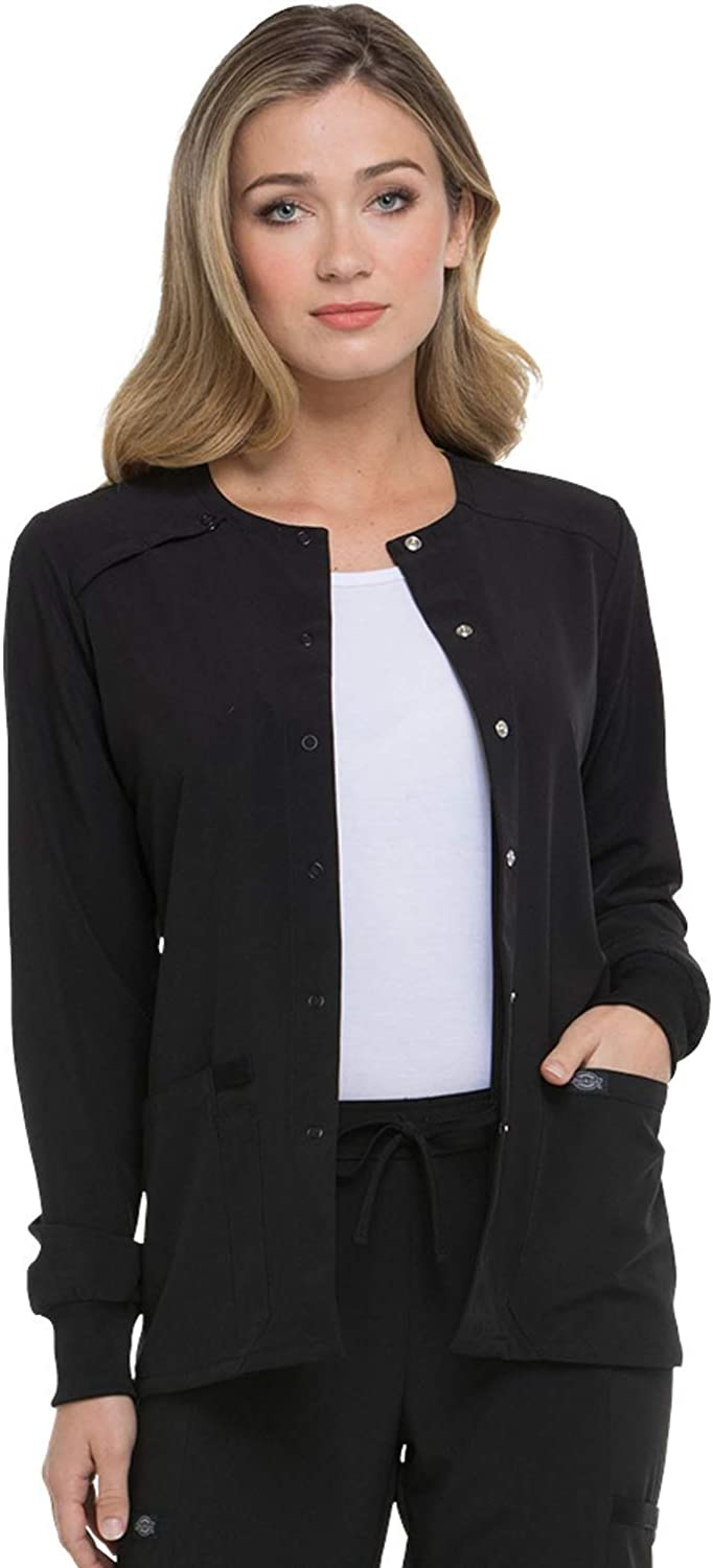 Dickies EDS Essentials Women Warm Up Scrubs Jacket Snap Front DK305: Clothing, Shoes & Jewelry