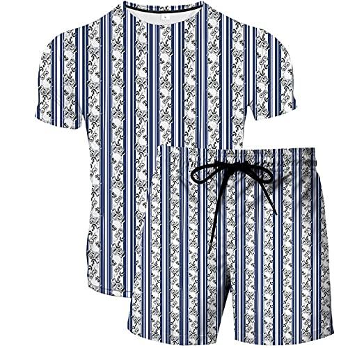 Trajes de Traje Deportivo de Verano Para Hombre Camisetas y Pantalones Cortos de Manga Corta Con Cuello Redondo 2 Piezas Para Entrenamiento Entrenamiento Fitness Basculador Gradiente de Rayas Azules L