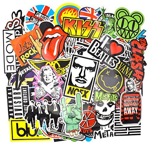 makstore 100 Stücke Rock and Roll Band Musik Aufkleber Stickers für Laptop Autos Motorrad Fahrrad Graffiti Patches Skateboard, wasserdicht