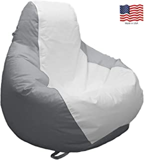 JoyBean Outdoor Bean Bag Chair - Water Resistant Marine Vinyl Ideal for Yacht Boat Pool Patio Garden Marine - Lawn Chair - Patio Furniture - for Adults Teens Kids (Medium, White/Gray)