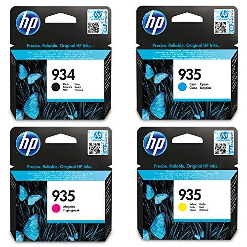 4 ORIGINAL Cartuchos de tinta para HP 934 negro + HP 935 cian, magenta y amarillo
