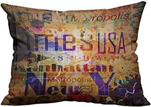 YouXianHome Throw Pillow Cover for Sofa Grunge Style Complex Artsy Mtage of NYC Letters Magazine Cover Popular Brooklyn Textile Crafts (Double-Sided Printing) 13.5x19 inch