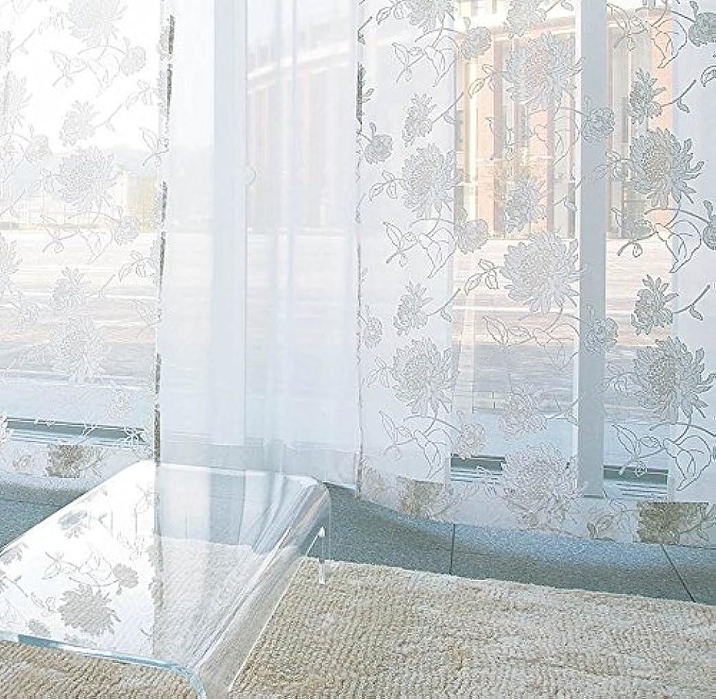 命題精巧な主観的アスワン 繊細なラインで描かれた花のデザイン カーテン2.5倍ヒダ E6094 幅:100cm ×丈:120cm (2枚組)オーダーカーテン