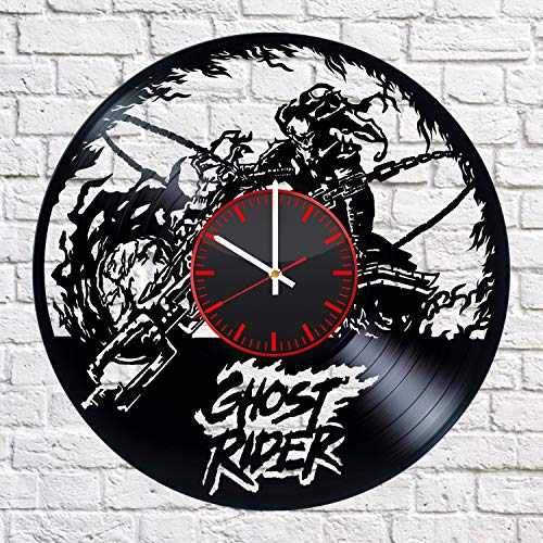 Ghost Rider Figure with Motorcycle Wall Clock Vinyl Record Marvel Comics Motorcycle Rider Artwork Bounty Hunter Comic