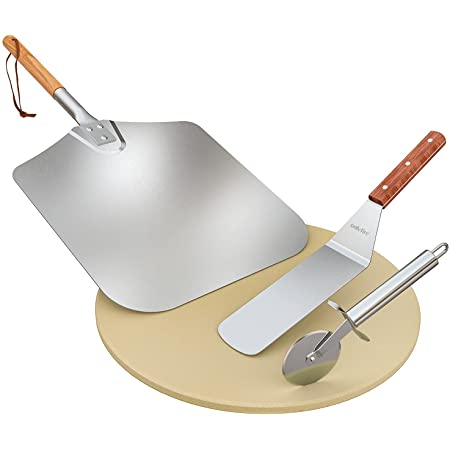 Onlyfire Pizza Grilling Tool Kit - Including 15 inch Round Pizza Stone, Stainless Steel Pizza Peel with Wooden Handle, Pizza Cutter & Pizza Shovel - Set of 4 Pizza Baking Accessories for Oven Grill