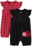 Wan-A-Beez Baby Girls' 2 Pack Embroidered Sleeveless Romper (Red Ladybug, 12 Months)