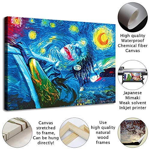 """Joker Starry Night HD Canvas Prints Home Room Wall Art Decor Oil Painting Artwork Posters for Bedroom Modern Wall Decoration Large Frame Ready To Hang (Wood Frames,16""""x26"""")"""