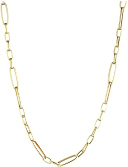 18K Alternating Rectangle Link Chain Necklace