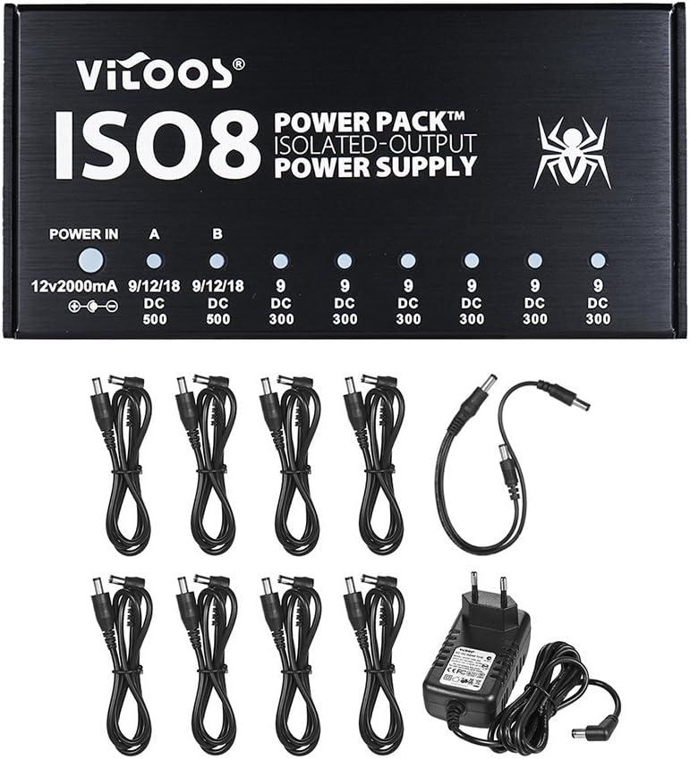 Fuente de alimentación de Efectos de Guitarra de tamaño Compacto ISO8 Power Pack Station 8 Salidas de CC aisladas para Efectos de Guitarra de 9V / 12V / 18V