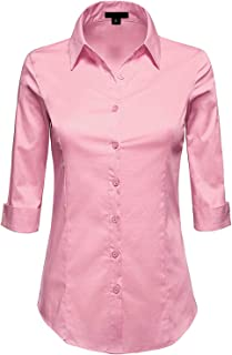 3/4 Sleeve Stretchy Button Down Collar Office Formal Casual Shirt Blouse for Women Fit (XS-6XL)