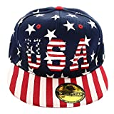 Falari USA American Flag Printed Baseball Cap Snapback Adjustable Size Navy