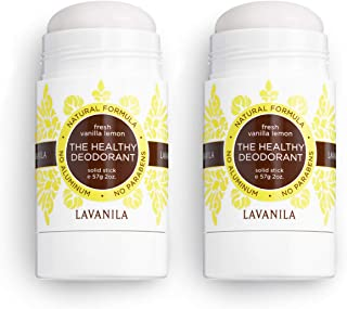 Lavanila - The Healthy Deodorant. Aluminum-Free, Vegan, Clean, and Natural - Fresh Vanilla Lemon (Pack of 2, 2 oz Deodorants)