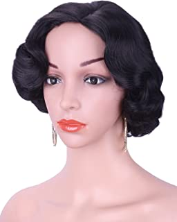 """Kalyss 12"""" Short Finger Wave Synthetic Hair Wig for Women Full Head Short Bob Curly 1920s-1950s Vintage Cosplay Costume Hairpiece (Black #2)"""