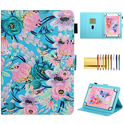 Flower Universal Case for 7 Inch Tablet, Techcircle Stand Folio Floral Design PU Leather Magnetic [Card/Pen Holder] Cover for RCA Voyager 7, Galaxy Tab 3 7.0/Tab 4 7.0/Tab E 7.0, Pink Blue Flowers